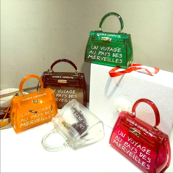 Handbags - Transparent candy color PU Tote Shoulder bag